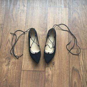 Pointy faux suede flats with ties